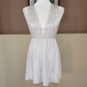 Oh My Love London Silver Metallic Mini Dress